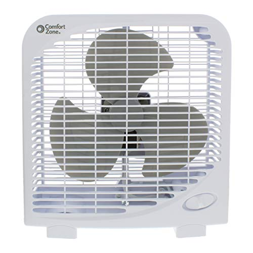 Comfort Zone CZ9BWT Portable 9-inch 2-Speed Quiet Box Fan for Home