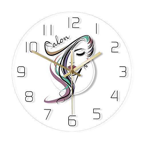 YUYANG Wall Clock 12 Inch Beauty Salon Haircut Hairdresser Design Transparent Wall Clock Barber Shop Hair Stylist Wall Hanging Watch Gift for Her Round Large Clock