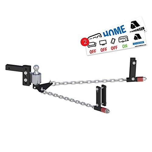Andersen Hitches 3350 | No Sway Weight Distribution Hitch | 4' Drop-Rise | 2 5-16' Ball | 3', 4', 5', 6' Universal Frame Brackets | Includes 2 Bumper Stickers