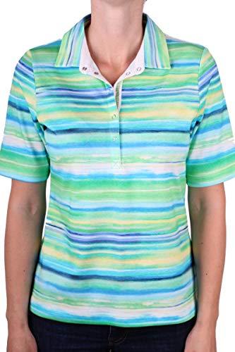 Rabe modisches Poloshirt mit grünem Streifenmuster Größe 46