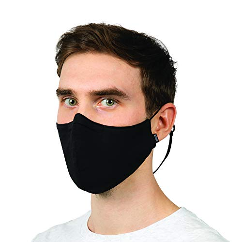 Bloch unisex adult Soft Stretch Reusable With Lanyard and Moldable Nose Pad (Pack of 3) Face Mask, Black, One Size US