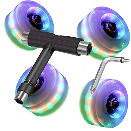 Light Up Skateboard Cruiser Wheels 58mm x 45mm 85A with Bearings and All-in-One T Tool (Set of 4) | Cruiser Wheels | Wheels for Skateboard | Soft Skateboard Wheels - UKUQINA