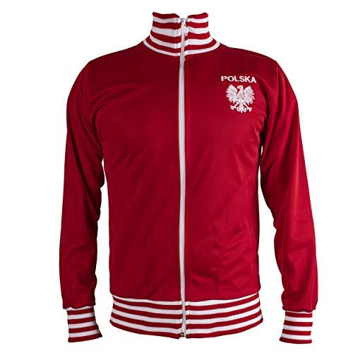 JL Sport Polska/kurtka retro piłkarski dres z zamkiem błyskawicznym kurtka męska top, Czerwony, XXL