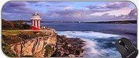 デスクパッドキーボードパッド、ステッチの端とビーチデスクマットの上の灯台