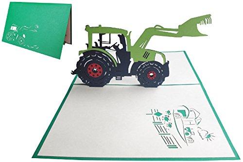 LIN17256, Pop Up Karte Traktor, Geburtstagskarte Klappkarte Grußkarten Trekker Traktorkarte 3D Karte Traktor, Geburtstagseinladung Traktor, Bauernhof Traktor, N205