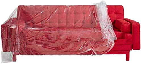 LEILIANG 2PCS Plastic Sofa Cover, Transparent Plastic Sofa Dust Covers Water Resistant Sofa Cover Sofa Protector Furniture Bed Sofa Couch Protector, 2X3m