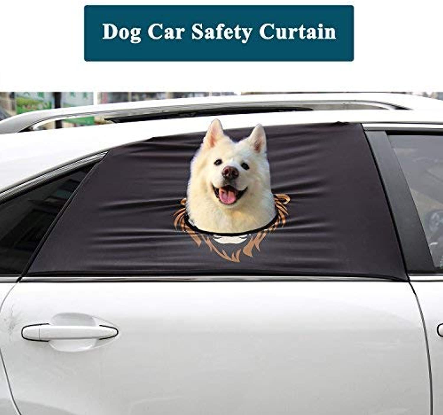 Flightbird Dog Car Safety Curtain, Car Window Barriers Foldable Car Sun Shades for Baby Pet Kid,Adjustable Flexible Breathable Stylish Universal Fit for Car SUV Jeep
