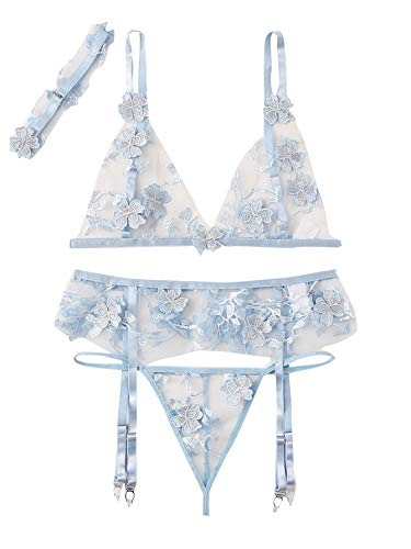 SheIn Women's Floral Appliques Mesh Sheer Sexy Garter Lingerie Set with Choker Medium Blue