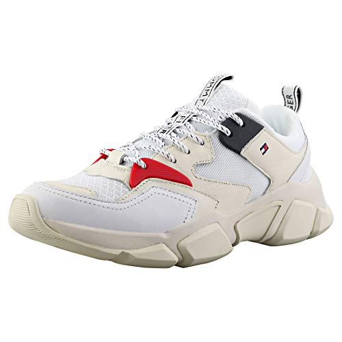 Tommy Hilfiger Damen WMN Chunky Mixed Textile Trainer Sneaker, Weiß (White 100), 40 EU