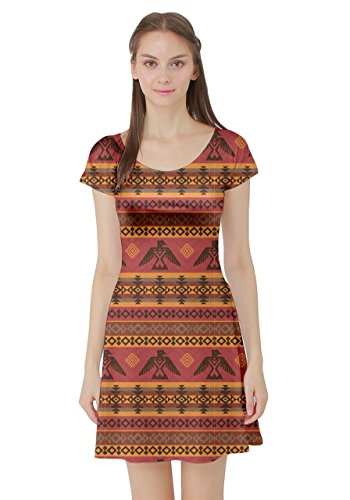 CowCow Womens Brown Eagles Ethnic Style Pattern Tribal Native American Short Sleeve Dress, Brown - 2XL