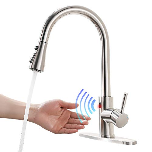 Touchless Kitchen Faucet Automatic Motion Sensor Single Handle with 2 Modes Pull Down Sprayer, Brushed Nickel Sink Faucet Single Hole and 3 Hole Deck Mount 1072SN