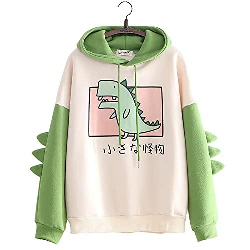 Las mujeres dinosaurio sudadera manga larga empalme camisetas de dibujos animados lindo sudaderas con capucha niñas Jersey Casual (Green,M)