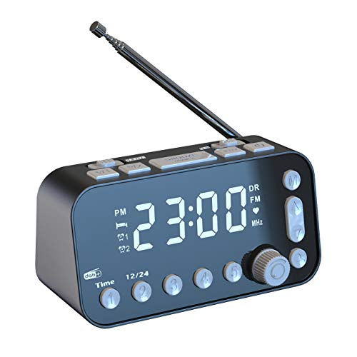 PROHEAR DAB DAB+ FM Alarm Clock Radio with 2 USB Smartphone Charging, LED Mirror Display Portable Radio, Black
