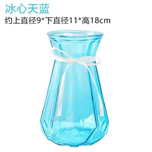 Ltong kleine glazen vaas transparante hydrocultuur rijke bamboe lelie gestreepte vaas huis woonkamer bloemstuk, blauw
