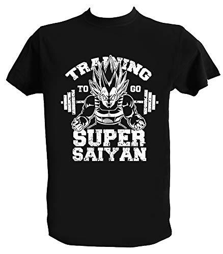 UZ Design Camiseta Training Saiyan Vegeta Hombre Niño Gym Goku Entrenamiento DBZ, Niño 12-14 Años