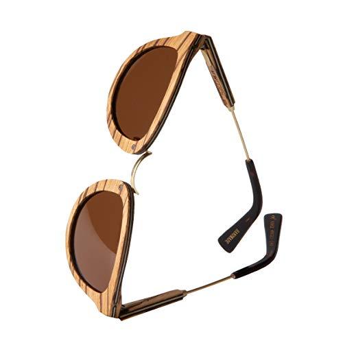 WOLA Sonnenbrille Holz AQUA Brille rund Metallbrücke inkl Faltetui Damen Herren UV400 Zebraholz