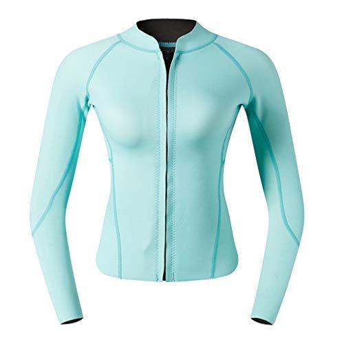 perfk Damen Neopren Jacke Schwimmanzug Surfanzug Neoprenanzug Top Surfen Tauchen Anzug Bademode - Blaugrün, M