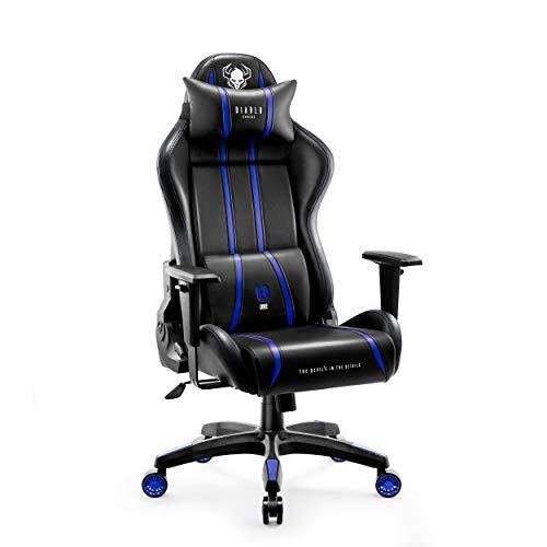 Diablo X-One 2.0 Silla Gaming Gamer Oficina Sillon de Ordenador Reposabrazos Ajustables Cuello/Cojín Lumbar Diseño Ergonómico Azul Normal (L)