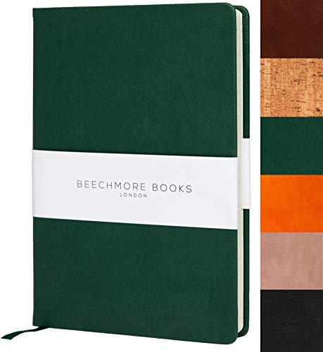 Bullet Notebook | Gepunktetes Notizbuch | Tagebuch A5 von Beechmore Books | Festeinband Veganes Leder, Dickes Papier 160 g/m², Journal in Geschenkschachtel, 21x15cm (Grün)