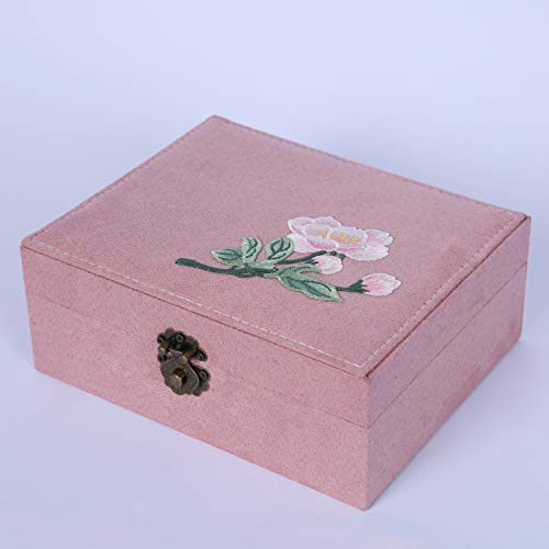 QSCV para Mujer Niña Regalos Cajas,Vintage Joyeros,con Key Joyero,Bordado Papel De Terciopelo Collares Anillos Pendientes Pulsera Funda De Joyería-Rosa 23 * 19 * 9cm