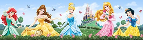 1art1 Disney Prinzessin - Merida, Belle, Cinderella, Aurora, Snow-White Bordüre Tapeten-Borte Selbstklebend 500 x 10 cm