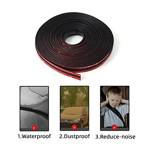 Genericccc 9M/30FT Car Rubber Sealing Strip T-Type for Front Windshield Panel Roof Car Soundproof Rubber Edge Protector Trim Weatherstrip Seal Strip Self Adhesive Waterproof Black