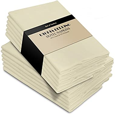 Utopia Bedding Cotton Dinner Napkins - Ivory - 12 Pack (18 inches x 18 inches) Soft and Comfortable - Durable Hotel Quality - Ideal for Events and Regular Home Use