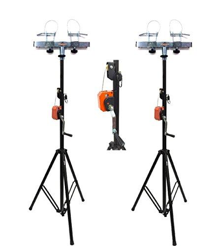 (2) DJ Pro Lighting 10 Foot Crank Light Stand & (2) Square Truss T-Bar Adapter
