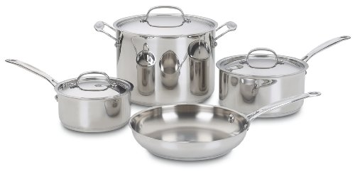 Cuisinart Chefs Classic 7-Piece Cookware Pot and Pan Set - Stainless Steel (77-7P1)