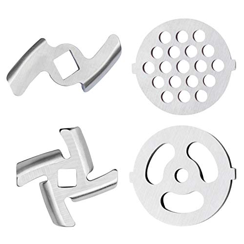 2 Pcs Grinding Blades and 2 Pcs Grinding Plate Compatible with KitchenAid Household Stand Mixers