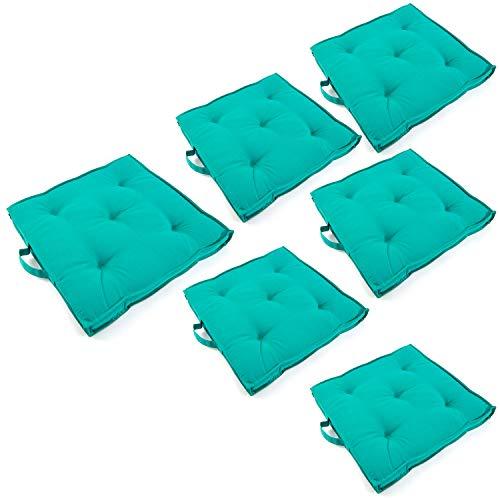 Edenjardi Pack 6 Cojines para sillas de jardín Color Turquesa, Tamaño 42x42x5 cm, Repelente al Agua