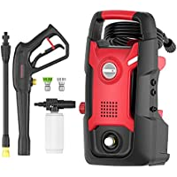 Powerworks 1700 PSI 1.2 GPM Pressure Washer for Cleaning Homes, Cars, Driveways, Patios (Black&Red)