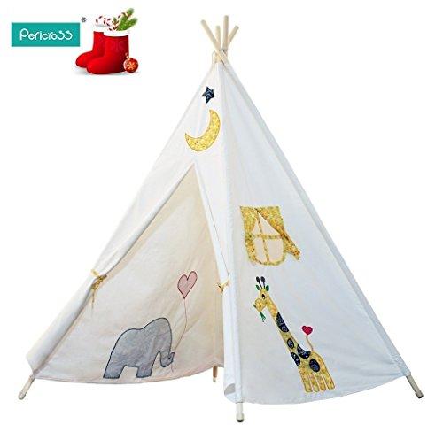 Pericross-Teepee Tente Indienne de Jouet Maison de Jouet pour Enfants (blanc-5faces)