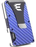 Exenact billetera delgada de fibra de carbono forjada minimalista para hombre (2019) versión - Azul - Medium