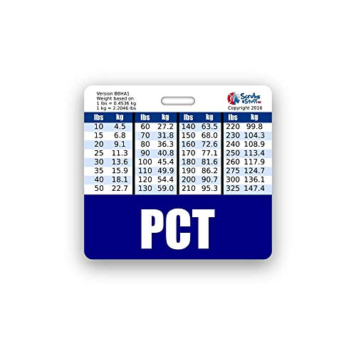PCT Badge Buddy Horizontal w/Height & Weight Conversion Charts (Standard, Navy)