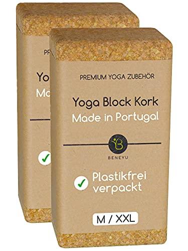 beneyu® Nachhaltiges Yoga Block Kork 2er Set - Das Bewährte Yoga Block 2er Set aus 100% Naturkork Made in Portugal - Ideal als Unterstützung beim Yoga und Pilates inkl. Übungen (M, Kork (2er-Set))
