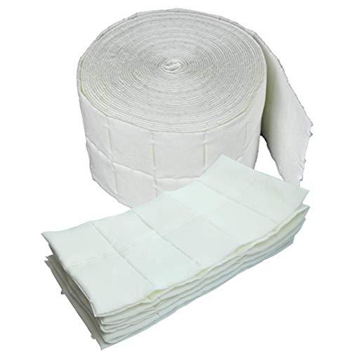 Rollo de 100 toallitas quitaesmalte de gel sin pelusas, toallitas de celulosa seleccionables.