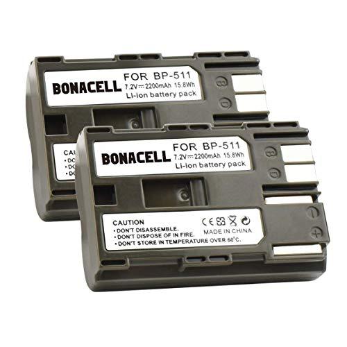 Bonacell 2X Akku für Canon BP-511 Ersatzakku 2200mAh Kompatibel mit Canon EOS 10D, 20D, 20Da, 30D, 40D, 50D, 5D, D30, D60/PowerShot G1, G2, G3, G5, G6/EOS Digital Rebel/Optura Xi (S)