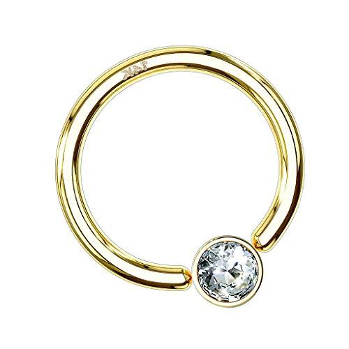 Piersando BCR Piercing Klemmring Ring 585er echt Gold mit Kristall Klemm Kugel Septum Nasen Lippen Helix Ohr Tragus 1,2mm x 10mm x 3mm Gelbgold
