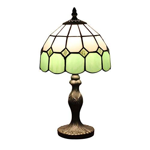 Gweat 8 pollici di Tiffany stile mediterraneo di Ambra Lampada da tavolo Lampada da comodino camera da letto (4 colori per scegliere)