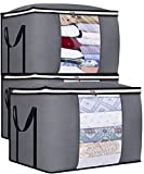 SLEEPING LAMB 100L Large Comforter Storage Bag for Closet Clothes Storage Organizer for Duvets Blankets Bedding Sheets Pillows, with Reinforced Handles, 3 Pack, Grey