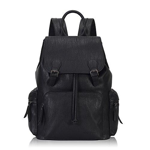 Veevan Herren Vintage PU Leder Studenten Rucksack Backpack Schulrucksack Outdoor Daypacks Cityrucksack Schwarz