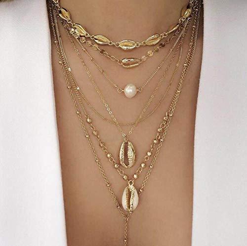 TFOOD Mehrreihige Damen Halskette,Böhmische Europäische Und Amerikanische Mode Goldene Muschelkette Imitationsperlen Anhänger Lange Kette Für Einfachen Damenschmuck