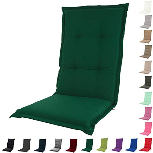 KOPU® Auflage für Hochlehner Prisma Forest Green | Polster für Gartenstühle | Grün Garten Kissen 125 x 50 cm | 19 einfache Farben | Robuster Schaumstoff für zusätzlichen Komfort