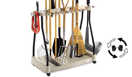 Tool Rack Metal Organizer Rolling Garden Tools Rack Corner Garage Rack Cart On Wheels & eBook by Easy2Find