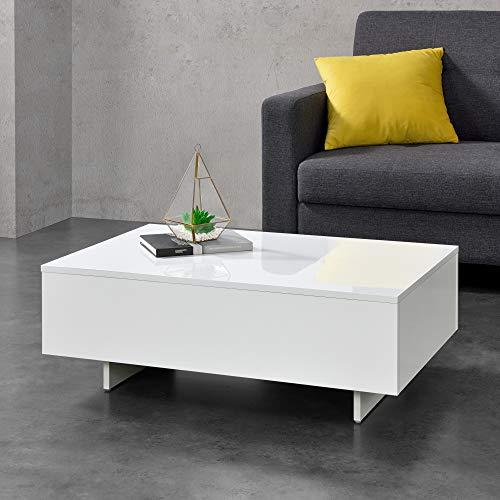 [en.casa] Table Basse de Salon Élégante Stylée 85 x 55 x 31 cm Panneau de Particules Mélaminé de 15 mm Blanc Brillant
