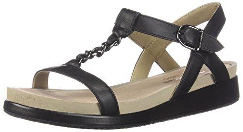 Hush Puppies Women's Chrysta Chain T Fashion Sandals, Black Leather, 9 M US