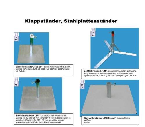 Pied de parasol en acier 4 mm Ø deutschem – – pliante Pied de parasol – Porte-parapluie – Parapluie – Support en métal – Le Stabielo® – pour parasol jusqu'à Ø 53 mm – Pied de parasol de soleil – Porte-parapluie – Fabriqué en Allemagne – M 53-avec large pied Plaques Holly produits Stabielo® – Innovations fabriqué en Allemagne – Holly Sunshade® – Prix de – Produits fabriqué en Bade Wurtemberg de