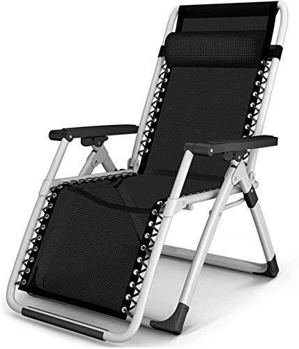 Sillas de jardín reclinables con cojines Silla de gravedad cero Plegable para playa al aire libre Soporte de silla de camping portátil 200 kg (color: gris con cojines, Dimensiones: 66 * 72 * 85 cm)