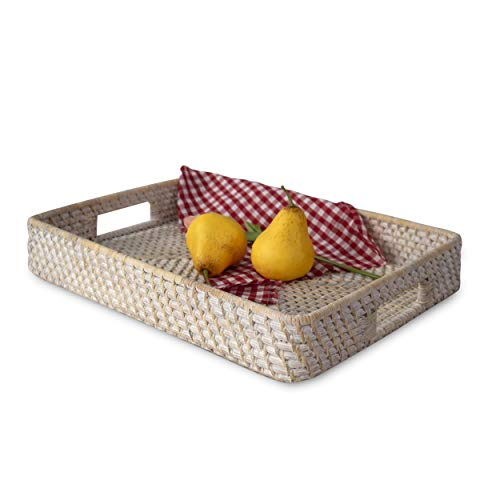 Large 14' x 18' Wicker Rectangular Serving Trays and Platters with Handles | Handcrafted Breakfast, Food, Dish, Coffee, Bread Serving Baskets for Home and Restaurants (Whitewash)
